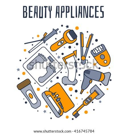 Beauty appliances, icon set - stock vector