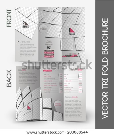 Beauty Care & Salon Tri-Fold Mock up & Brochure Design - stock vector