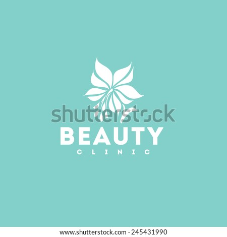 Beauty clinic logo design vector template. White lily icon - stock vector