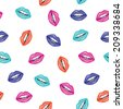 Beauty color seamless pattern of lips - stock vector