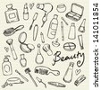 Beauty & cosmetics icons vector doodles - stock photo