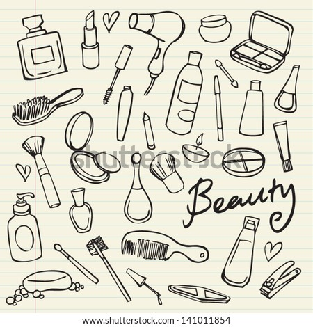 Beauty & cosmetics icons vector doodles - stock vector