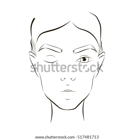 Beauty Face Chart Close Woman Portrait Stock Vector 517481713 ...