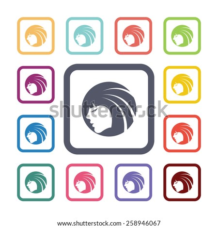 beauty face flat icons set. Open round colorful buttons. Vector