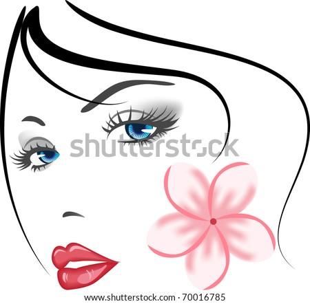 beauty face girl portrait . elements for design - stock vector