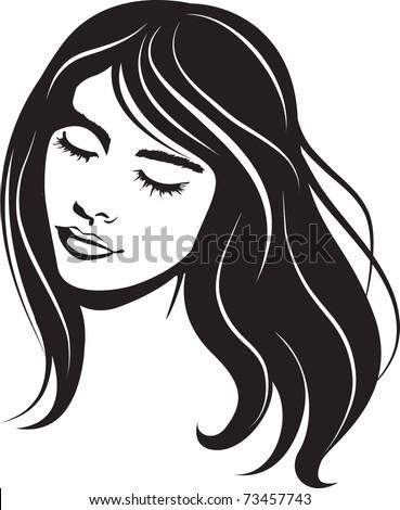 beauty face girl portrait. Vector illustration - stock vector