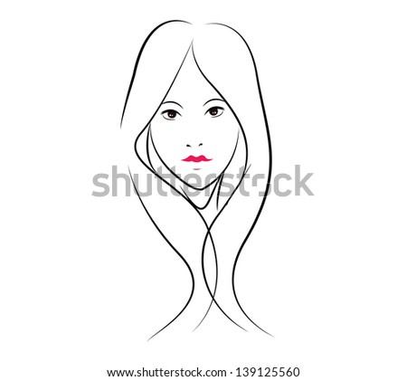 beauty face girl. Vector illustration - stock vector