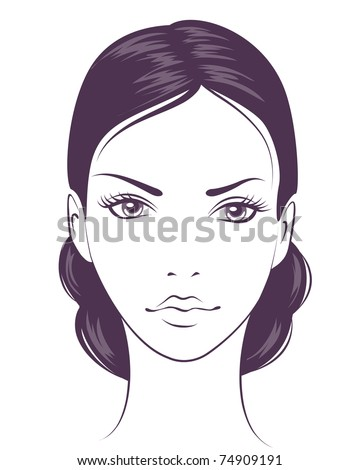 beauty face girl. Vector illustration - stock vector