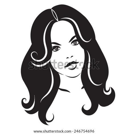 Beauty Face 3 Girl With Long Hair Vector Illustration