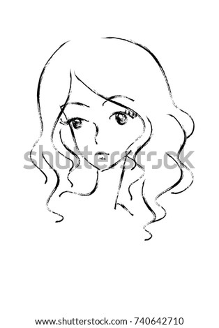 Face Surprised Girl Hand Drawn Vector Stock 558658126