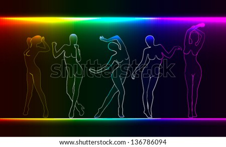 Beauty, fashion concept. silhouettes of naked female figures - stock vector