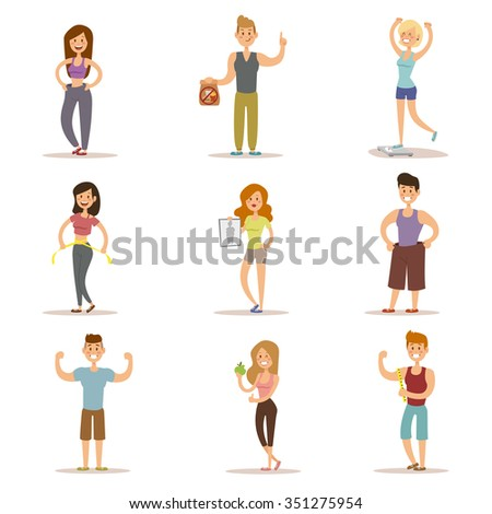 Beauty fitness people weight loss vector cartoon illustration. Weight loss, weight loop concept. Thin people diet, gym, measure. Losing weight, good figure, strong body. Weight lose vector people - stock vector