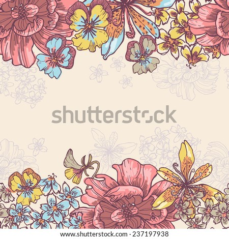 Beauty garden flowers horizontal l seamless border . All objects are conveniently grouped  and are easily editable. - stock vector