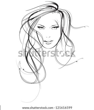 Beauty Girl Face Stock Vector 121616599
