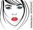 beauty girl face. Art vector work illustration - stock vector