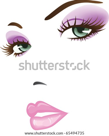 beauty girl face. design elements - stock vector