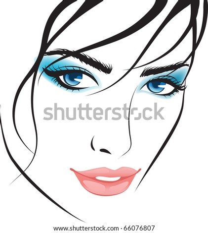 beauty girl face. design elements - stock vector