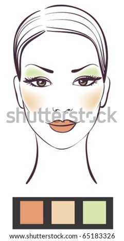 Beauty girl face with makeup vector illustration - stock vector