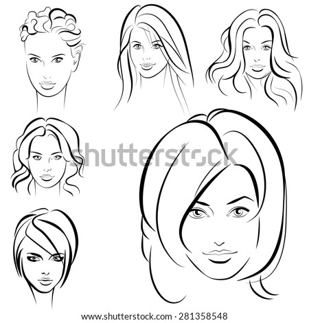 Beauty girl. Fashion beautiful woman face. Set. - stock vector