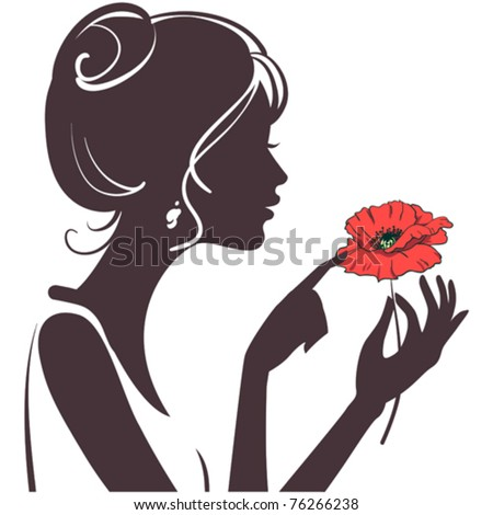 beauty girl silhouette with red poppy - stock vector
