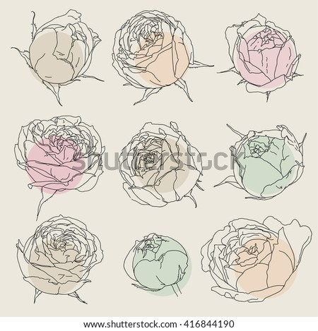 Beauty hand drawn flowers - stock vector