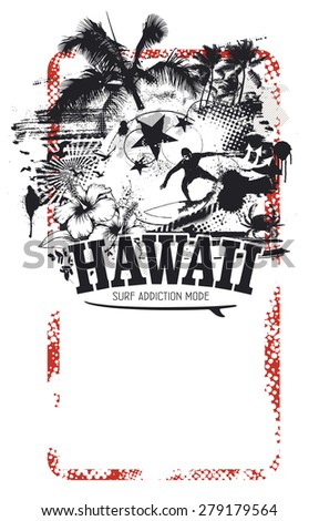 beauty hawaiian summer banner with beach and surfer riding a wave