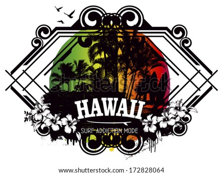 beauty hawaiian surf shield - stock vector