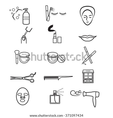 Beauty icons set, Vector cosmetic