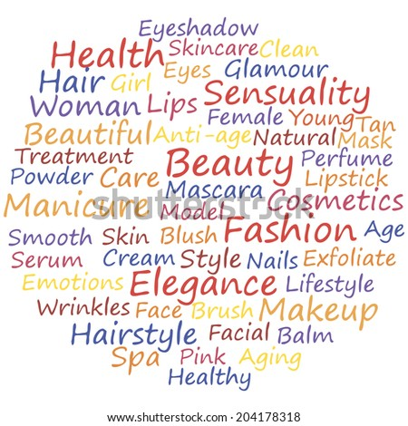 Beauty info-text concept word cloud, vector illustration.  - stock vector