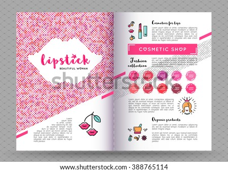 Beauty makeup and lipstick fasion collection brochure A4. The concept of the printing template, directory covers, flyers and web banners on the theme of beauty, cosmetics makeup. Vector illustration - stock vector