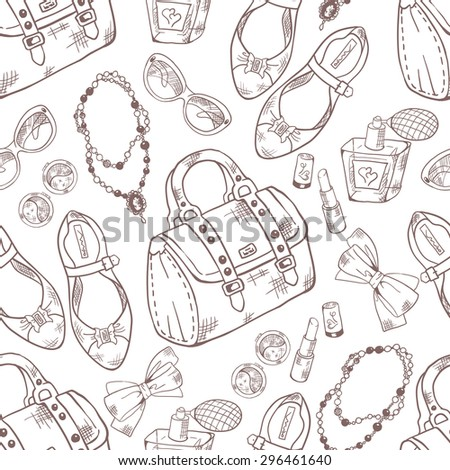 Beauty, makeup and style hand-drawn pattern. Vector illustration. - stock vector