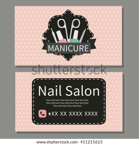 Beauty, manicure. Nail Salon. Cute business card for manicure  salon. Vector design