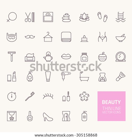 Beauty Outline Icons for web and mobile apps - stock vector