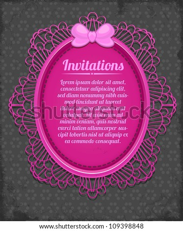 Beauty pink frame on black polka dot background. Congratulations card - stock vector