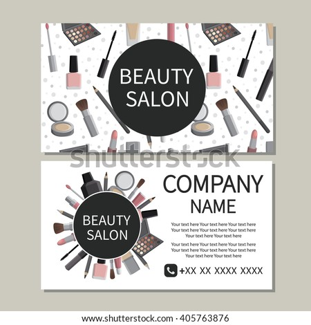 Beauty salon beauty makeup care cute stock vector 2018 405763876 beauty makeup care cute design of business cards for beauty reheart Choice Image