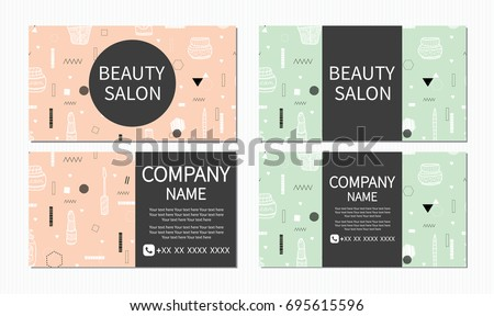 Beauty salon beauty makeup care cute stock vector 695615596 beauty makeup care cute design of business cards for beauty reheart Choice Image
