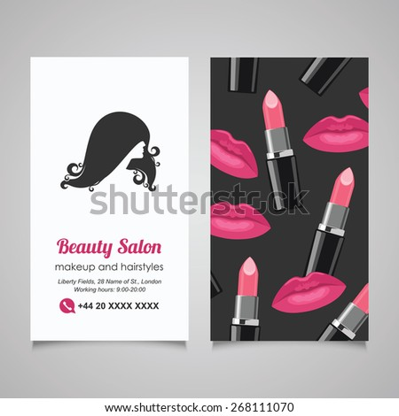 Beauty salon business card design template stock vector royalty beauty salon business card design template with beautiful womans profile flashek Image collections