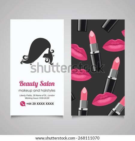 Beauty Salon business card design template with beautiful woman's profile - stock vector