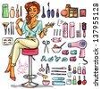 Beauty Salon, Cartoon sexy woman with beauty supplies around. Hand drawn set - stock vector