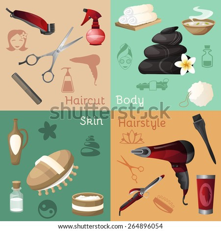 Beauty salon design concept set with haircut body skin hairstyle icons isolated vector illustration - stock vector