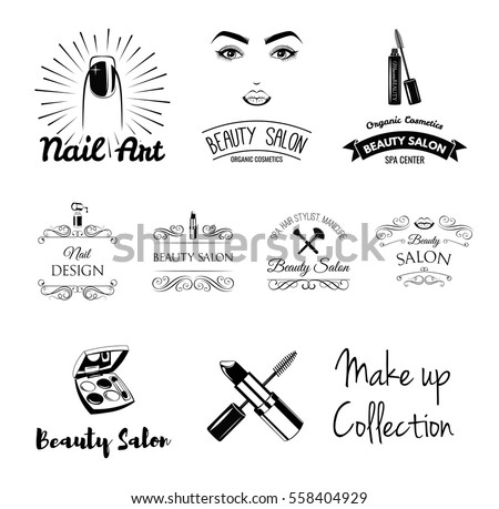 Beauty Salon Design Elements In Vintage Style Lipstick Mascara Lips Manicure