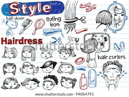 Beauty salon, Doodle set.  Modern funky illustrations - stock vector