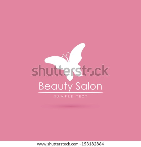 Beauty salon label with butterfly and faces - vector illustration - stock vector