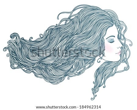 Beauty Salon: Portrait of pretty young woman in profile view with long beautiful hair. Vector illustration  - stock vector