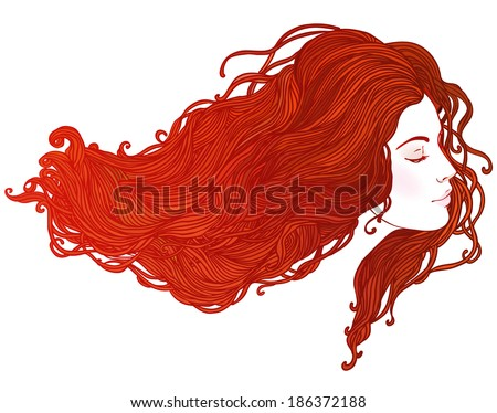 Beauty Salon: Portrait of pretty young woman in profile view with long beautiful  red hair. Vector illustration  - stock vector