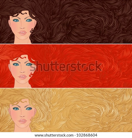 Beauty Salon: Set of banners with portraits of pretty young woman with beautiful hair. Vector illustration - stock vector