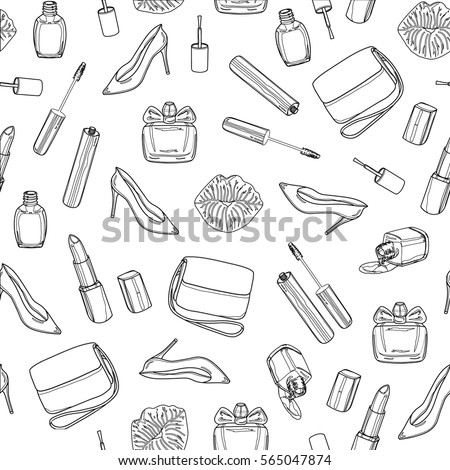 Beauty seamless pattern on a white background. Women's shoes, handbag, nail polish, lipstick, mascara, perfume, kiss. Hand drawing black outline design elements. Vector illustration.