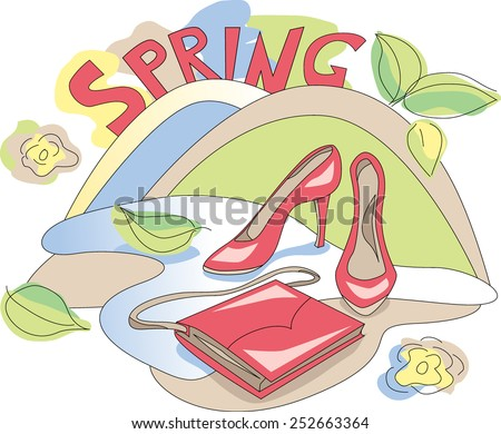 Beauty shoes and bag on floral background. Spring cute illustration. Colorful print. Vector shopping card.