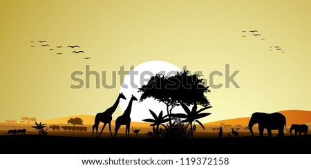 beauty silhouette of safari animal wildlife - stock vector