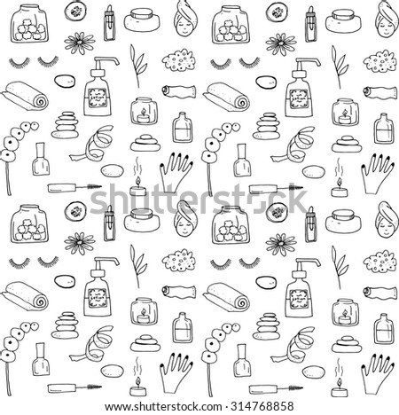 Beauty spa doodle drawings isolated icons - stock vector